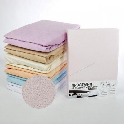 Простыня на резинке махровая розовая (размер 180х200)