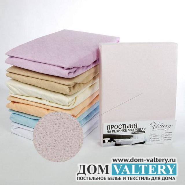 Простыня на резинке махровая розовая (размер 200х200)