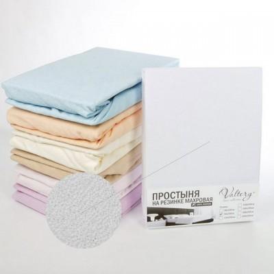 Простыня на резинке махровая белая (размер 200х200)