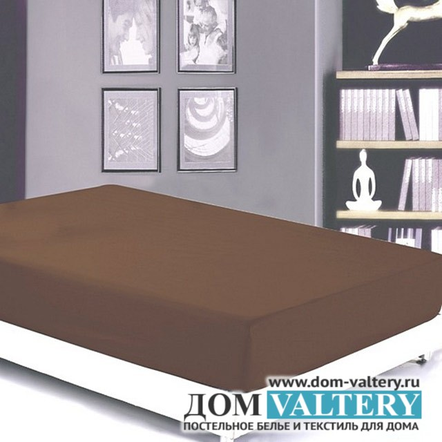 Простыня на резинке сатин Valtery PRC-R-04 шоколадная (180х200 см)